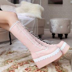 Fashion-Womens-Lace-Up-Punk-Platform-Wedge-Heel-Knee-High-Gothic-Boots-Flatform