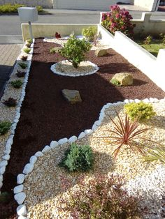 These are three of the most useful front yard landscaping ideas that have been used by homeowners in the past. The charm of these front yard landscaping ideas. Gravel Landscaping, Florida Landscaping, Landscaping With Rocks, Front Yard Landscaping, Landscaping Ideas, Gravel Garden, Rocks Garden, Garden Yard Ideas, Backyard Garden Design