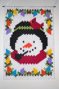 Mano a mano con cuentas Banner cuentas de Navidad muñeco de nieve con la suspensión del cable de Nylon