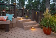 Flip through high-res color photos of backyard decks & front yard porches. Find flashes of brilliance among outdoor lighting options for composite decking, too. Porches, Timbertech Decking, White Porch, Outdoor Spaces, Outdoor Decor, Outdoor Decking, Cedar Deck, Decoration Entree, Decking Material