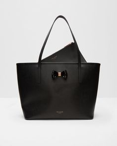 Bow detail leather large shopper - Black | Bags | Ted Baker