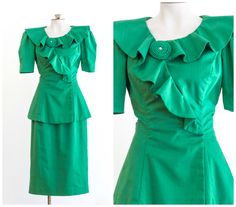 80s does 40s emerald green skirt suit by TimeTravelFashions on Etsy