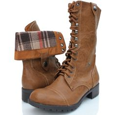 Qupid Military Combat Boot Fold-Over Cuff ($44) ❤ liked on Polyvore featuring shoes, boots, ankle booties, military combat boots, wedge heel booties, wide boots, fold over wedge boots and army boots