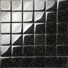 Black Glitter Glass Mosaic Tiles Sheet. Black glass with multicolour glitter flecks.