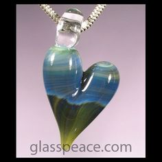 Blue Glass Heart Necklace by Glass Peace $12.95