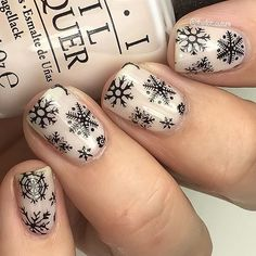 I just can't stop with the snowflakes! Probably because I am buried under about a trillion of them! Send help? ☃☃☃☃☃☃ @opi_products Act Your Beige! Stamped with @bundlemonster BM-S218 and @konad_art Black stamping polish!
