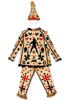 Mummer's Costume With Wool Appliques