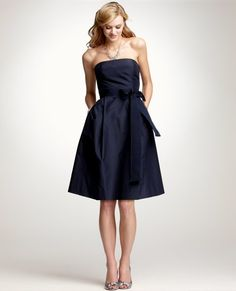 Silk Taffeta Strapless Bridesmaid Dress