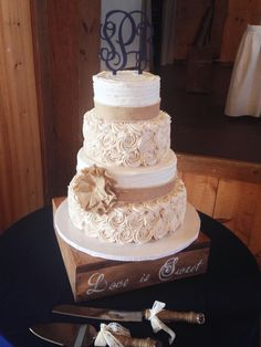 Rustic Wedding Cake with Burlap and Buttercream Rosettes, by Amy Hart
