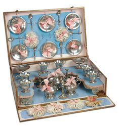 """""""Fascination"""" - Sunday, January 8, 2017: 97 French Doll's Pewter Service for Six in Original Presentation Box"""
