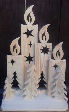 Beautiful stand with four wooden candles for self-decoration. Liebev - Chritmas - Beautiful stand with four wooden candles for self-decoration. Christmas Wood Crafts, Rustic Christmas, Christmas Art, Christmas Projects, Holiday Crafts, Christmas Ornaments, Halloween Wood Crafts, Nativity Ornaments, Spring Crafts