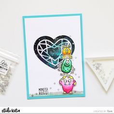 Hello everyone! Isha here sharing a fun Galaxy back ground. I started by creating a galaxy background using watercolors. I then die-cut a window using Shaker Heart die. Fun Galaxy, Parts Of The Heart, Galaxy Background, Wink Of Stella, Copic Markers, Hello Everyone, Birthday Cards, Card Making, How To Apply