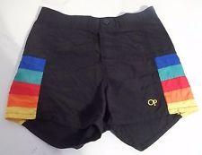 7a617e691f Vintage 1980's OP Ocean Pacific BOYS Swim Trunks Size 8/9 Black Rainbow  Stripes Retro
