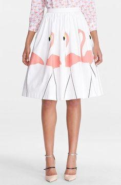 Flamingo puffed midi skirt