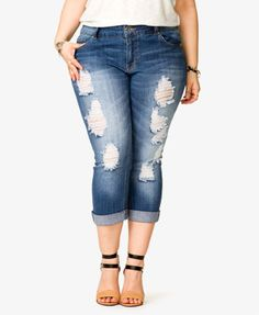 Distressed Cropped Jeans | FOREVER 21 - 2038034341