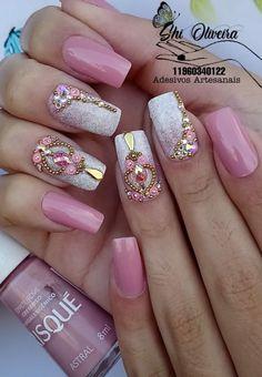 Coffen Nails, Work Nails, Cute Nails, Pretty Nails, Blue Acrylic Nails, Pink Nail Art, Glitter Nail Art, Square Nail Designs, Pretty Nail Designs