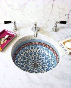 More Snyder blended Italian and Moroccan influences in the painted porcelain sink basins featured in each guest bathroom.Snyder blended Italian and Moroccan influences in the painted porcelain sink basins featured in each guest bathroom. Bathroom Inspiration, Interior Inspiration, Interior Ideas, Wedding Inspiration, Design Inspiration, Porcelain Sink, Painted Porcelain, Hand Painted, Ceramic Sink