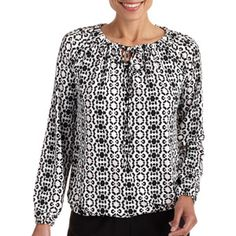 Women's Knit Peasant Top With Tie Detail