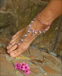 single BAREFOOT SANDAL pink chain bridal beach wedding dance yoga hippie boho chic beach anklet chain anklet