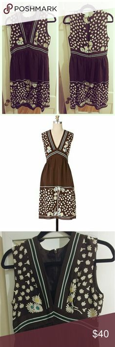 Anna Sui for Anthropologie Silk Brown Daisy Dress Gorgeous silk dress from the Anna Sui for Anthropologie collection - brown with a daisy print and green detailing. Size 4. Anna Sui Dresses