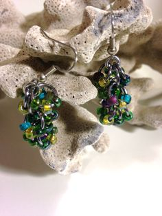 Chainmail Earrings Black Ice / Gunmetal and Peacock Colored