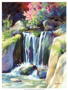 size: Premium Giclee Print: Crystal Creek Art Print by Julie Pollard : Artists Printed on thick, premium watercolor paper, this stunning print was made using a giclée printing process that delivers pure, rich color and remarkable detail. Art Watercolor, Watercolor Landscape, Landscape Art, Landscape Paintings, Landscapes, Waterfall Paintings, Painting Edges, Print Artist, Stretched Canvas Prints