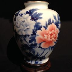 Japanese Vintage 深川 Fukagawa White Porcelain Vase with Blue and Red from manyfacesofjapan on Ruby Lane