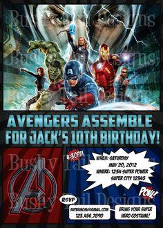 $14 Avengers Birthday Invitation