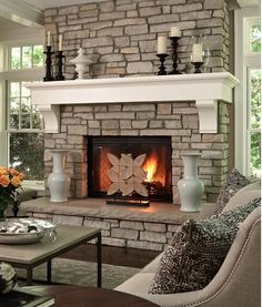 fire place with raised hearth | Fireplace with raised hearth and substantial mantle: