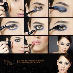 Nesse passo a passo, aprenda a ousar, sem exageros, o destaque nos olhos. A combinação de sombra azul marinho com batom nude cria um look clássico. http://www.adoromaquiagem.com.br/dicas-maquiagem/novidades-tendencias/sombra-azul-esfumada-e-batom-nude/15986/ #look #maquiagem #naturauna