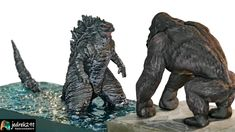 Making Godzilla and King Kong diorama a simple way Godzilla Vs, King Kong, Resin Art, Diorama, Lion Sculpture, Statue, Simple, Youtube, Dioramas