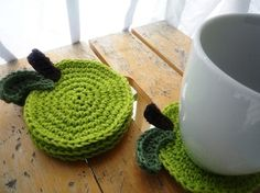 Crocheted Apple coasters