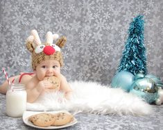 Leo's Christmas card picture. Baby's first Christmas. Cookies and milk for Santa. Baby Christmas photos.