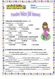 English worksheet: PASSIVE VOICE  ****ALL TENSES****