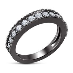 Wedding Ring band 1.00 Carat Round Cut 14k Solid Black Gold Women's #Silvergemsjewelry #WeddingBand