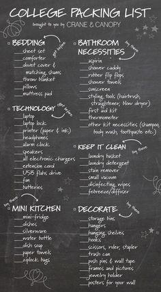 Dorm essentials checklist.