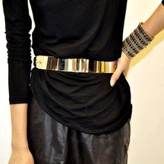 Women Mirror Metal Waist Belt Metallic Gold Plate Bling Shiny Wide OBI Band Belt #Unbranded #DECORATIONBELT