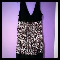 Black and cheetah print cocktail dress Black and cheetah print cocktail dress Taboo Dresses