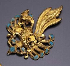 Gold phoenix plaque inlaid with glass, Tang Dynasty. Miho Museum, Japan