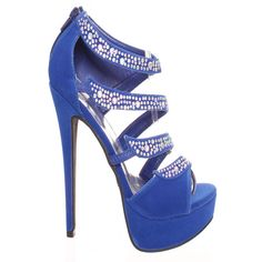 royal blue silver diamond acccent strapped platform high heel ($8.99) ❤ liked on Polyvore featuring shoes, pumps, heels, royalblue, peep toe platform pumps, strappy pumps, heels & pumps, high heel shoes and platform shoes