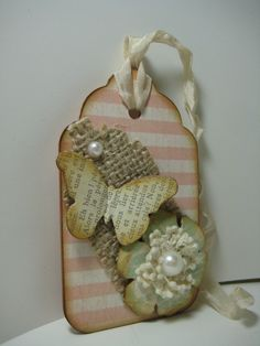 Decorated Tag Decorated scrapbooking tag by ENDEARINGENDEAVORS. $6.00 USD, via Etsy.