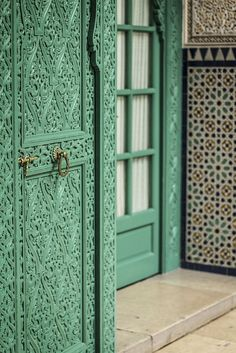 Green Embellished Doors in Casablanca, Morocco | Color Inspiration