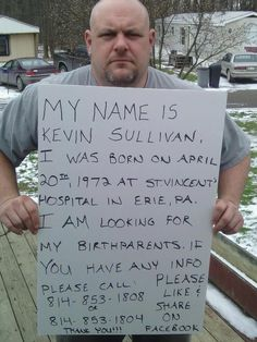 Kevin Sullivan is searching for his birth parents on Facebook