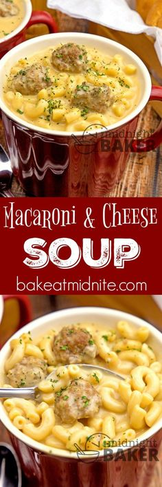 Macaroni & Cheese Soup ~ comforting beefy macaroni and cheese in soup form!