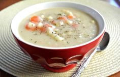 Creamy Cauliflower Soup with Carrots and Corn.