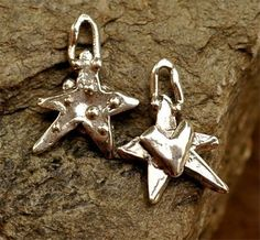 Artisan Dotted Star w Heart Charm Too in Sterling Silver