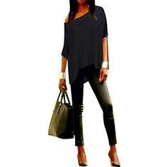 Memorose Women Loose Sleeve Plain Shoulder Off Asymmetric Hem T Shirt Top Blouse