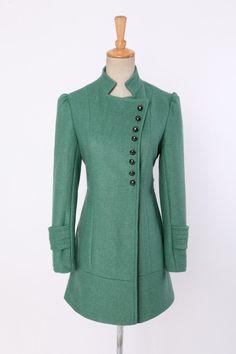Pea-green Winter Coat wool coat women fashion coat jacket. $120.00, via Etsy.