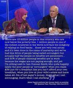 Salma Yaqoob confronts Iain Duncan Smith on austerity (BBC Question Time, 12 June Troll, Iain Duncan Smith, Political Books, Political Satire, Uk Politics, Jeremy Corbyn, Thing 1, How To Remove, How To Make