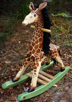 Wooden Giraffe Rocking Horse For Toddlers